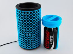 Blue 3D printed device with black can