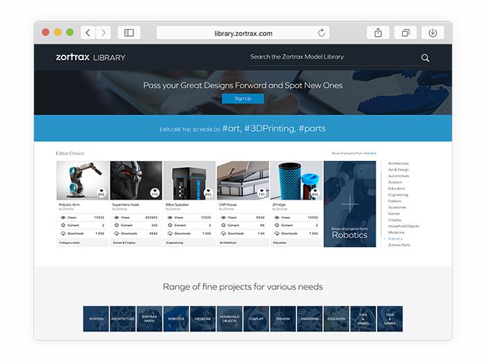 zortrax_model_library_web_safari