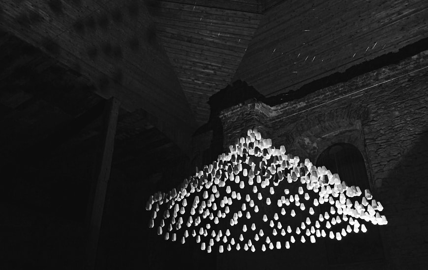 Interior of a church with 3D printed lamps by Zortrax
