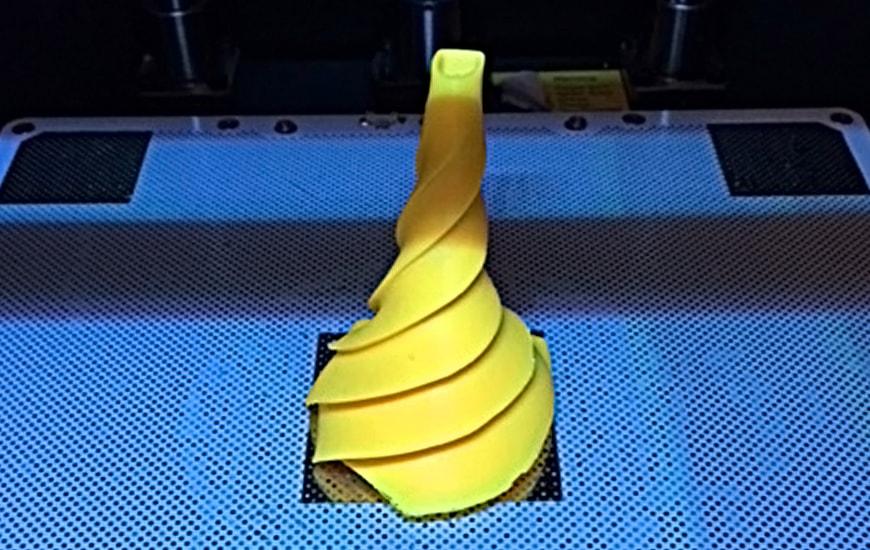 Yellow helix in Zortrax's 3D printer