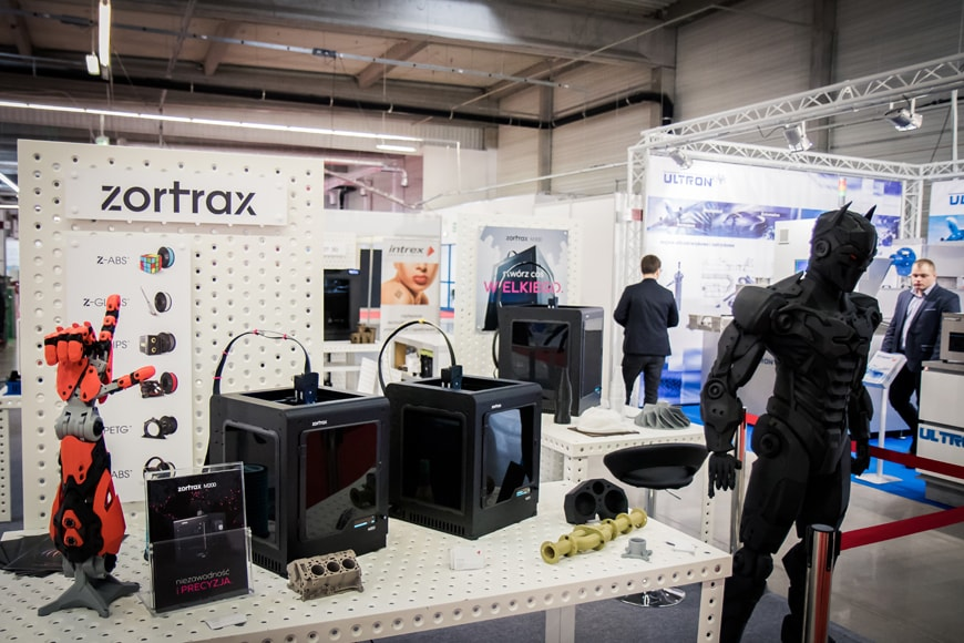 Zortrax's stand with 3D printers