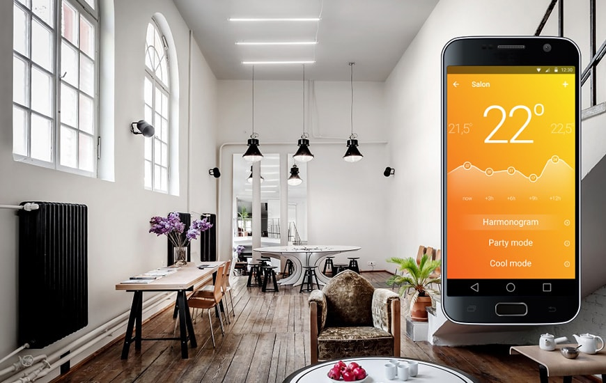 Modern interior with smartphone on the right