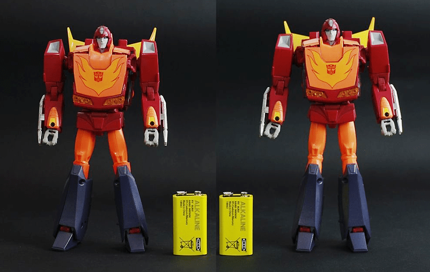 Red 3D plastic robots with battery