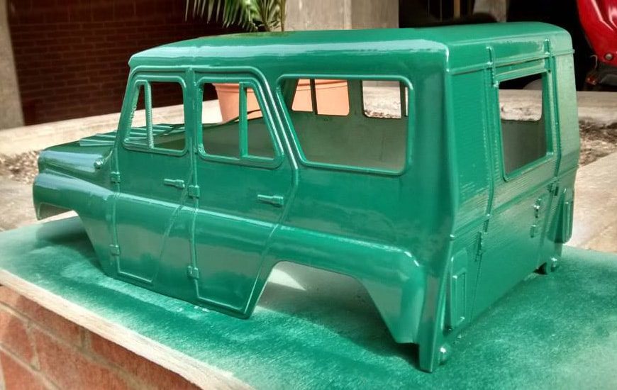 Green model of 3D printed car